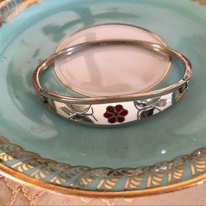 Vintage Sterling 925 Abalone Enamel Bracelet